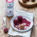 Healthy peanut butter truffles with my favorite lingonberry powder dressinghellip